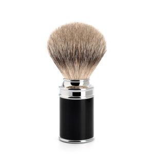 Blaireau silvertip de rasage pur argenté en résine noire